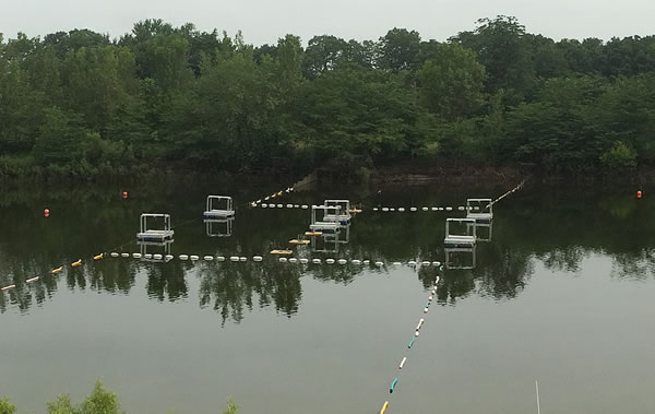 Figure 2. Field implementation of sound as a deterrent to movement of bigheaded carp through a constructed lock approach channel. Six speakers are suspended off rafts across the middle of the channel, and a recording of a boat motor was played in both directions (to the left and right in the photograph) to deter fish passage through the channel.