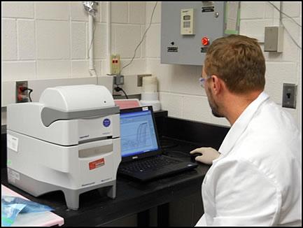 Figure 3: UMESC Scientist analyzes fish tissue