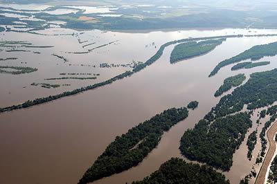 Aerial photo of flooded Missouri
