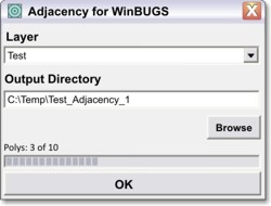 Adjacency For WinBUGS dialog