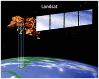 A simulated image of the Landsat-7 satellite.