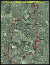 The boundary of the Tamarac National Wildlife Refuge in western Minnesota. Courtesy of the U.S. Geological Survey.