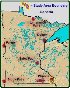 Study area in Houston and Winona counties, Minnesota