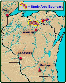 Study Area: Iron and Vilas Counties, Wisconsin