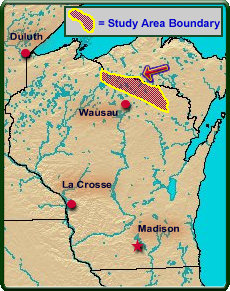 Study Area: Iron, Vilas, Oneida, and Forest Counties, Wisconsin